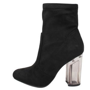 Black Faux Suede Clear Block Heel Bootie